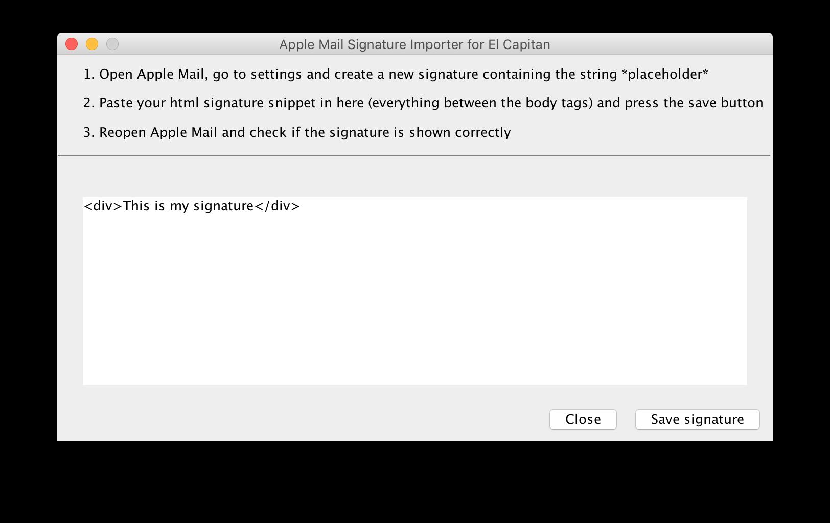 Tool zum Importieren einer Signatur in Apple Mail